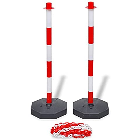 Festnight Chain Barriers Post Reflective Parking Post Set with 10m Plastic Chain