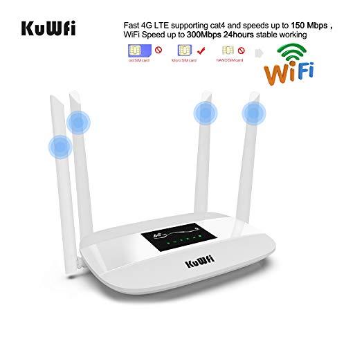 KuWFi Router 4G LTE, Router Wireless CPE 4G Sbloccato con Slot per schede SIM con Antenna per 3 (Tre) / Telecom Italia Mobile (Tim) / Vodafone/Iliad