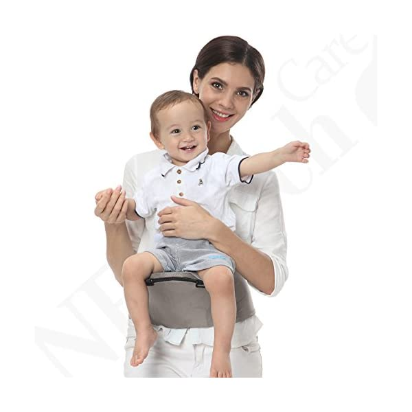 Baby Carrier Hip Seat 100% Cotton - Pocket & Removable Hoodie/Head Support - Adjustable & Breathable - Neotech Care Brand - for Infant, Child, Toddler - Grey Neotech Care 4 WAYS TO CARRY BABY! 1) only hip seat facing you! 2) only hip seat facing outside world 3) hip seat + baby wrapper facing you 4) hip seat + baby wrapper facing outside world! REMOVABLE HEAD SUPPORT! 100% COTTON outer fabric - Comfortable & Breathable! 5