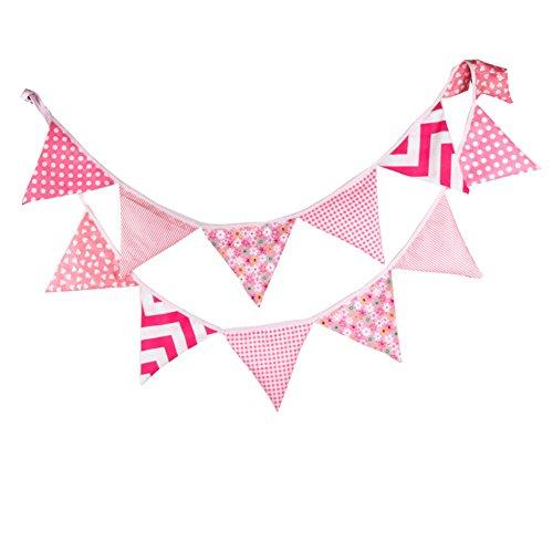 Hrph 12 Banderas Banderas 3,3 millones de personalidad linda Verderón Banderas boda del partido Vintage rosado garland decoración