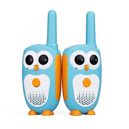 Retevis RT30 Walkie Talkie für Kinder Eule Figur Super Einfach 1 Kanal 1 DCS 0,5W LED-Anzeige mit Gürtelclip Funkgerät für Kinder Geschenk, Spielplatz, Bergwandern, Supermärkte (1 Paar, Blau)