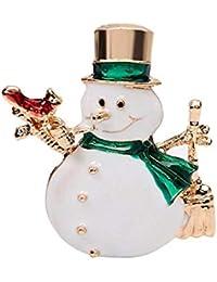 Schmuck & Zubehör Edler Schmuck Emaille Skating Weihnachten Doppel Schneemann Kristall Broschen Skifahren Frauen Party Bankett Schal Revers Kostüm Pin Weihnachten Schmuck