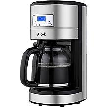 Aicok Cafetera de Goteo Programable, Cafetera Digital Térmica, 1000 W, Capacidad de 12 Tazas, 1,8 L, Pantalla LCD, Jarra de Cristal, Color Negro