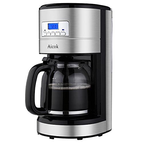 Aicok Kaffeemaschine 12 Tassen, Filterkaffeemaschinen mit Timer, Glaskanne, Dauerfilter, Tropfstopp, Schwarz/Edelstahl