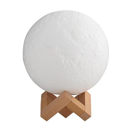 Lámpara de Luna 3D, Control Táctil Lámpara de Mesita Noche LED 15CM/5.9inch Diámetro Con 3 Modo Moon Lamp Con Control Remoto 7 Colores Diferentes Para Casa, Dormidorio Regalo para Cumpleaños (Control Remoto, 15CM/5.9inch Diámetro)