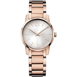 Calvin Klein ck city K2G23646 - Reloj analógico de cuarzo para mujer, correa de acero inoxidable chapado color dorado