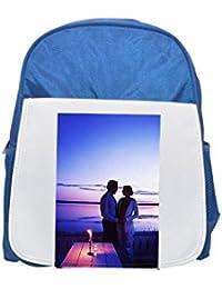 Un par por romántica por un lago impreso Kid s azul mochila, para mochilas