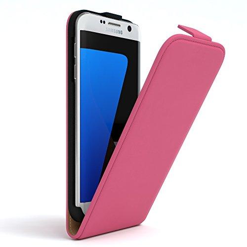 Samsung Galaxy S7 Edge Hülle - EAZY CASE Premium Flip Case Handyhülle - Schutzhülle aus Leder zum Aufklappen in Dunkelblau Pink