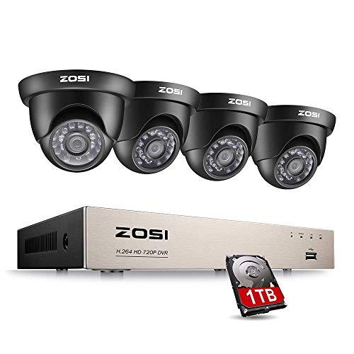ZOSI 720P HD CCTV Videoüberwachung System 8CH TVI DVR Recorder mit 4 x 720P 1MP Dome Überwachungskamera Set für Innen und Außen, 1TB Festplatte, 20M IR Nachtsicht -