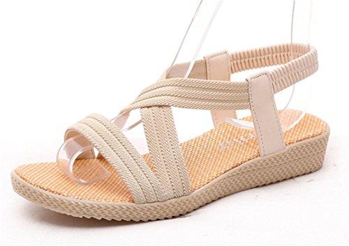Wealsex damen flach sandalen Beige