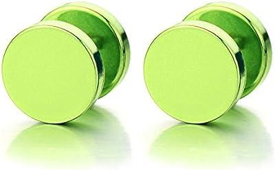 10MM Metálico Verde Círculo con Estrella, Enchufe falso Fake Plug, Pendientes de Hombre Mujer, Aretes, Acero, 2 Piezas