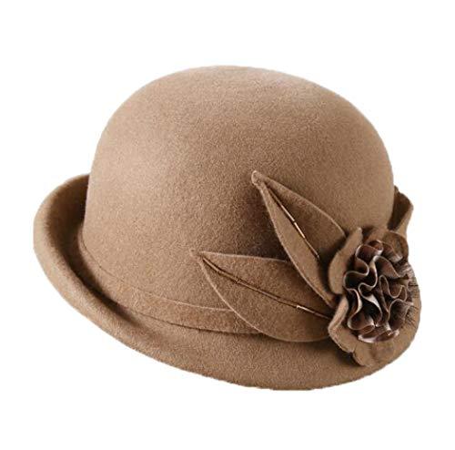 GOUNURE Frauen Wollfilz Fedora Hats Bucket Cap Cloche Hut Mode Trilby Church Hut Jazz Cap Sonnenhut mit Blume -