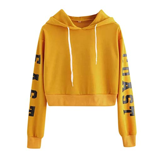 TWIFER Damen Buchstaben Langarmshirt Hoodie Crop Pullover Tops Sweater Sweatshirt Full Zip Knit Top