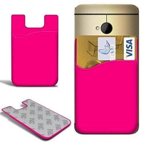 N4U ONLINE - Xiaomi Note Slim Silikon zum Aufkleben Guthaben / Bankkarte Kartenschlitz Schutzhülle - Hot Pink