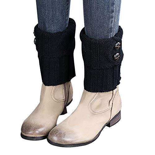 Mitlfuny Damen BeinwäRmer Kurze Stiefelsocken Winter Beinstulpen HäKeln Stiefelstulpe Knopf Boot Abdeckung Stiefelsocken Stulpen (Schwarz) -