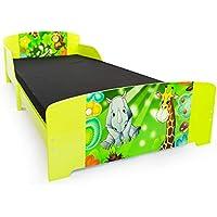 Preisvergleich für Homestyle4u 1212, Kinderbett, Motiv Dschungel Tiere, Holz Grün Bunt, 90x200 cm