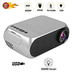 ASHATA Mini Beamer, Mini Multimedia Tragbar HD Beamer Heimkino Projektor,Tragbar Home Theater LED Mini Projektor Media Player,Unterstütztung 1080P HDMI AV USB SD Karte für Film Bild Spiel Party(Grau)