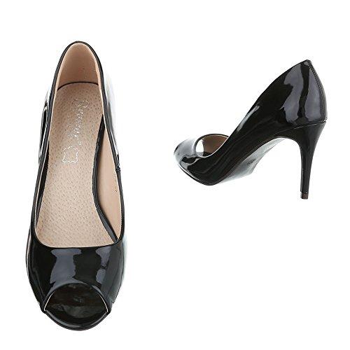 e2c921418dbd Damen Schuhe Pumps Peep Toe High Heels Stiletto Schwarz Schwarz ...