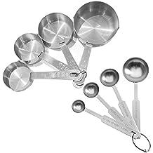 fenrad® Set di misurini cucchiaio +Cup Dosatori in Acciaio Inox set 8 pz