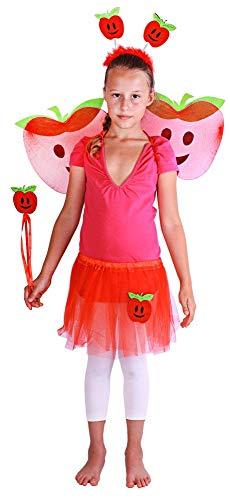 Apfel Kostüm Roter Kind - Verkleidung Roter Apfel für Kinder von 3 - 10 Jahren (110 - 150 cm) - 4 Teile