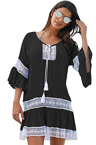 Up Damen Bikini-Bluse Strand Bluse Lose Mäntel Tunika Outwear Sommer Kleid Strandkleid Lange Ärmel Langes Shirt (schwarz) ()