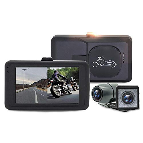 leegoal Motorcycle Recorder, Waterproof 720p Dual Lens Motorcycle Dash Cam Video Recorder with 3