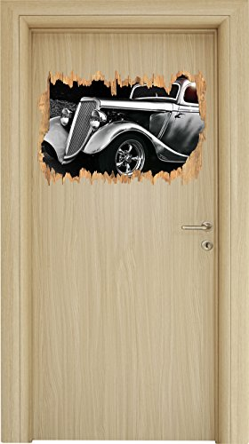 Luxus Schwarz weiß Oldtimer Holzdurchbruch im 3D-Look , Wand- oder Türaufkleber Format: 62x42cm, Wandsticker, Wandtattoo, Wanddekoration