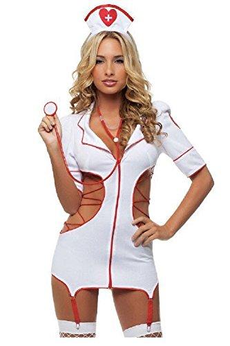 Krankenschwester, Nachtkleid Damenkostüme womans sexy, Sexy erotik ,Minikleid (Sexy Halloween Arzt)
