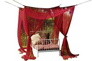 Leguana ciel de lit moustiquaire pour lit baldaquin simple ou double bordeaux - Moustiquaire baldaquin pour lit double ...