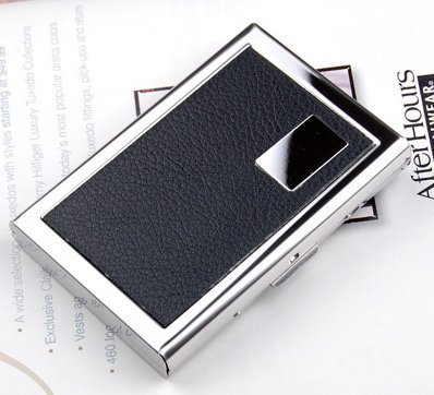 hbie Geldbörse Für die Reise Kreditkarten fall - Edelstahl RFID-blockierender Slim Wallet Kreditkarte Halter - Metall Business Karte Fall - mit hbie Logo