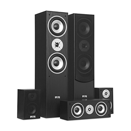 auna Surround Lautsprecher Boxen Set • Surround Sound-System • Heimkinosystem • Bassreflex-Chassis • 335 W RMS • max. 1.150 W Gesamtleistung • Wandmontage möglich • 5 Boxen • inkl. Kabelset • schwarz