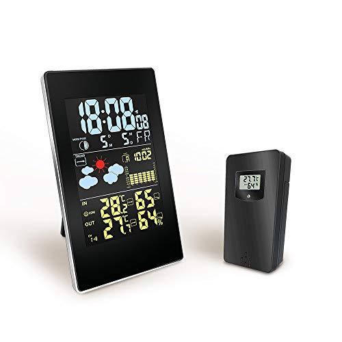 Thole Elektronische Wecker Digitale Funkwetterstation mit Außensensor Funkthermometer Hygrometer Tag Datum Monat