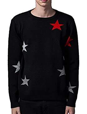 WTUS Crew Knit,Suéter de Moda de Delgado para Hombre,negro