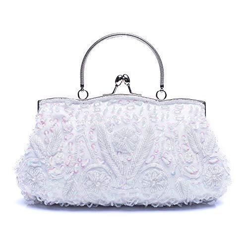 VENI MASEE collection antique floral rocaille/perle/Sequin doux embrayage sac de soirée, perle de rocaille exquis paillettes feuille soirée embrayage sac à main sac à main, cadeau idées-couleurs diver