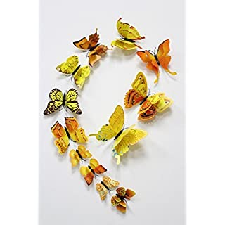 FiveRen 12 Pcs 1 Pack Beautiful Double Wing 3D Butterfly Wall Stickers, Vivid Fridge Magnet Home Decor Art Applique DIY Crafts Removable for Babys Bedroom TV Background Living Room, Yellow