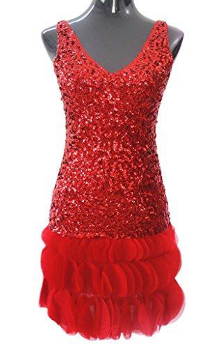 Eyekepper Robe Sexy - Dance latine Fashion Floral - Paillette Femme/Demoisellele Rouge