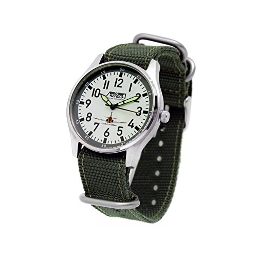 Reloj AVIADOR Mirlo AV-1147 - Reloj juvenil con esfera blanca de 38 mm, numerales negros, caja ultra fina en acero quirúrgico, correa en tejido militar tipo Nato verde