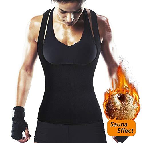 NHEIMA Saunaanzüge für Damen Corsage Korsett Training Bauchweggürtel Taillenkorsett abnehmen Shirt Taillenformer Fitness Taillenmieder für Gewicht Loss (S, SCHWARZ)