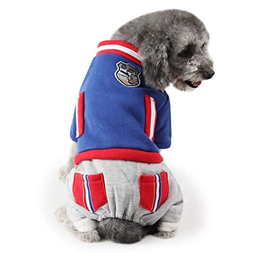 Dog Jumpsuit Warm Pet Clothes Winter Padded Jacket Cat Puppy Costume Hoodies (Color : Blue, Size : XL)