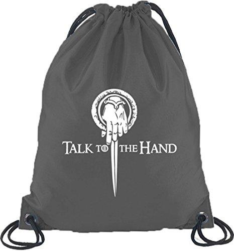 Shirtstreet24, Talk To The Hand, Turnbeutel Rucksack Sport Beutel Dunkelgrau