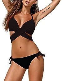 Magic Zone Damen Bikini-Sets Bademode Bikini Push-up Bikinioberteil mit Nackenträger - Seitlich Gebunden Bikinihose und Neckholder Bikini Bademode für Damen