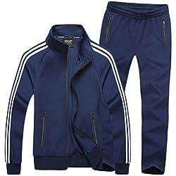 WanYangg Chandal Tallas Grandes para Hombre Mujer Unisexo 2 Piezas Desgaste De Pareja Casual Conjuntos Deportivos Chándal Manga Larga Cremallera Chaqueta + Pantalones M-Azul # 2 4XL