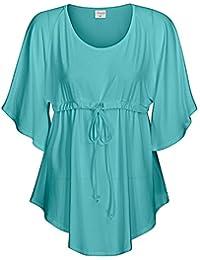 2214f4d44bd6ac Mississhop Damen Fledermaus Shirt Bluse Tunika Poncho Longshirt 36 38 40 42  44