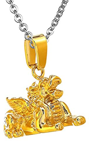 Men Chinese Retro Lucky Kylin Sculpture Stainless Steel Pendant Necklace Golden Aooaz Jewelry