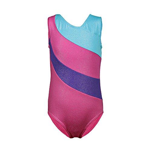 n-Streifen Ballett-Ballettröckchen-Tanz-Athletische Gymnastik-Trikotanzug für kleines Mädchen (120(4-5Y), Hot pink) ()