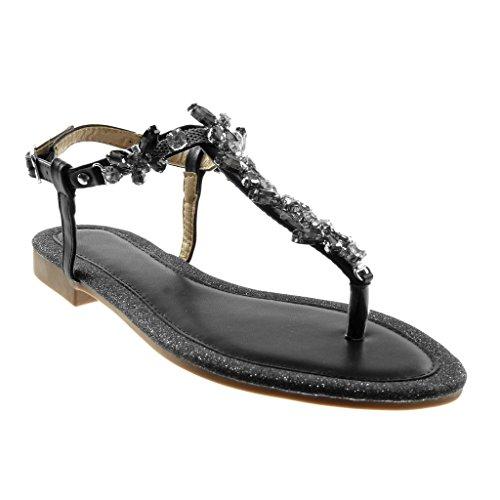Angkorly - Scarpe Moda Sandali Infradito con Cinturino alla Caviglia Donna Gioielli Strass Paillette Tacco a Blocco 1.5 CM - Nero RS159 T 38