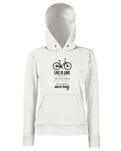T-Shirtshock - Sweats a capuche Femme CIT0147 life is like riding a bicycle Blanc