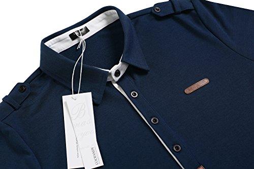 COOFANDY Herren Poloshirt elegante Langarmshirts regular fit Langarmpolo für Männer Dunkelgrün