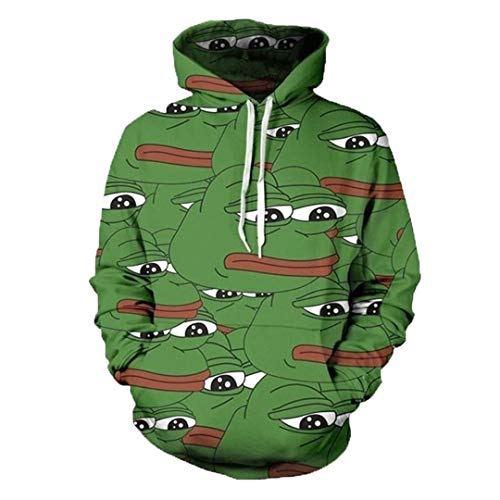 3D Männer Hip Hop Hoody Tops Ropa Deportiva Hombre beiläufige O-Neck Hut Sweatshirts Unisex Pepe Green Hoodies ()