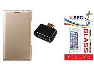 SEC 2.5D Curve Tempered Glass Protector Combo Golden Premium Leather Wallet Flip Case Cover And Micro USB OTG Adapter non cable For SAMSUNG GALAXY J7 2010